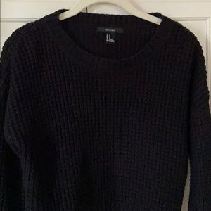 Forever21 Black Cropped Sweater Knit look Small